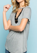 Kesh V-Neck Top (Gray) - Mcknz Boutique