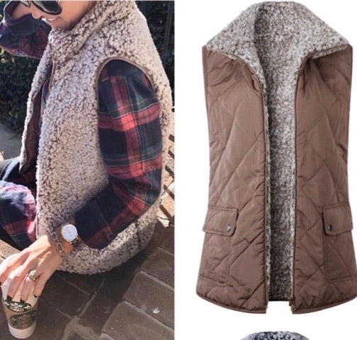 Tan Reversible Sherpa Vest - Mcknz Boutique