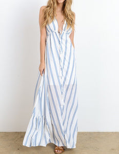 SUN AND SAND BLUE STRIPE MAXI - Mcknz Boutique