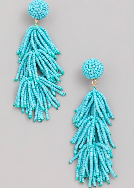 Beaded Feather Earrings - Mcknz Boutique