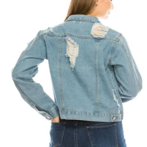 Destroyed Denim Jacket - Mcknz Boutique