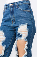 Dark Denim Distressed Jeans - Mcknz Boutique