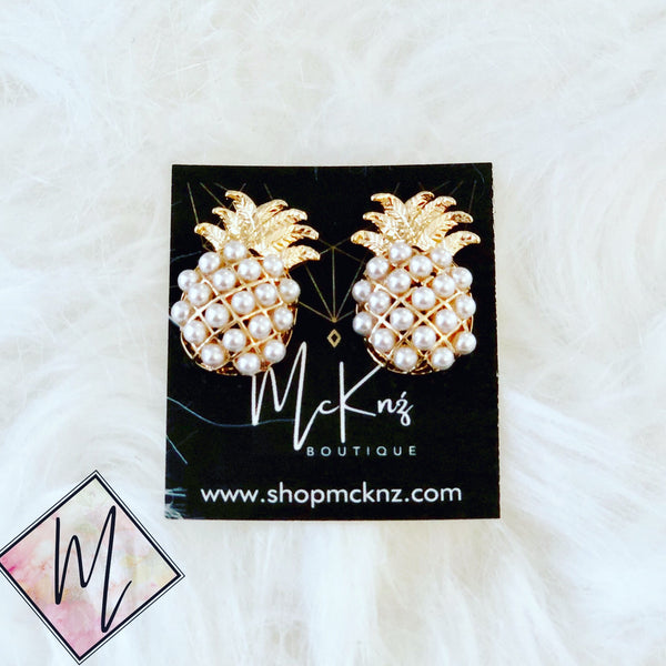 Pineapple Earrings Pearl Encrusted - Mcknz Boutique