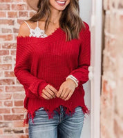 Crimson Distressed Sweater - Mcknz Boutique