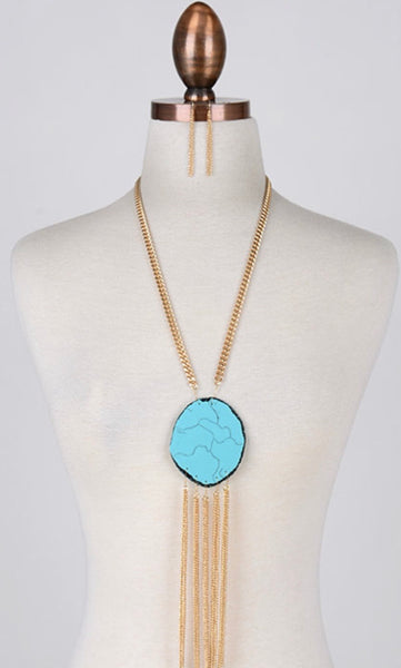 Turquoise Pendant Sweater Necklace - Mcknz Boutique