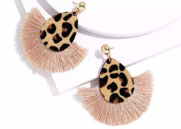 Coffee Leopard Fan Earrings