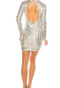 Sequin Open Back Cocktail Dress (Silver) - Mcknz Boutique