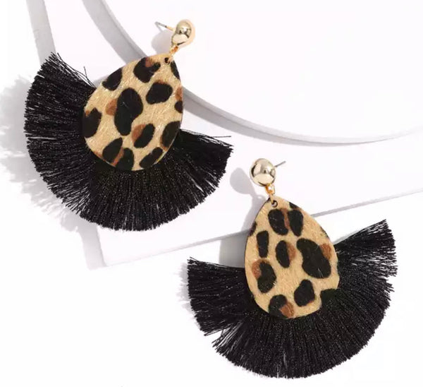Black Leopard Fan Earrings