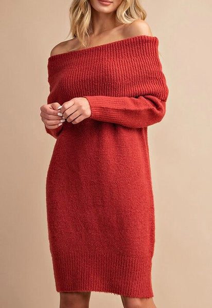 Cowl Neck Sweater Dress - Mcknz Boutique