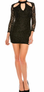 Cut Out Black Lace Cocktail Dress (Black) - Mcknz Boutique