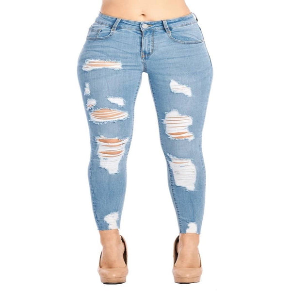 Destroyed Skinny Jeans with Raw Hem - Mcknz Boutique