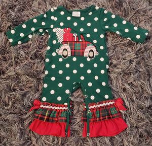 Green Polka Dot Christmas Truck Romper - AVA Boutique