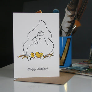 Birthday card with cockerel and feathers