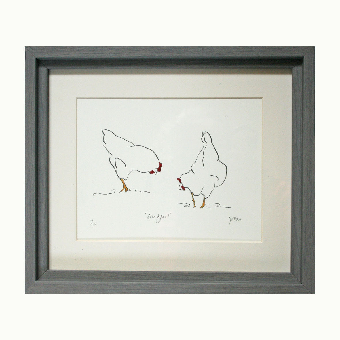 'Hens at Breakfast' Print