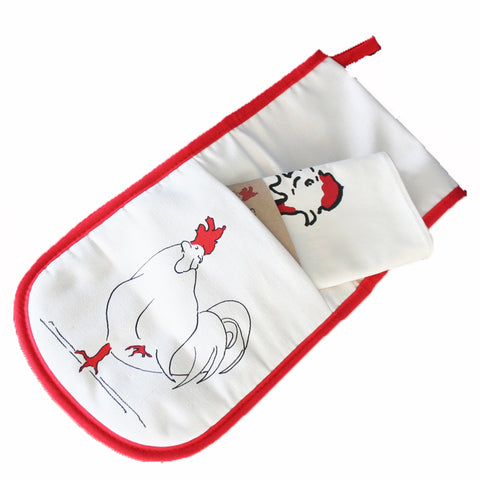 oven gloves and tea towel with a rooster design and red underside