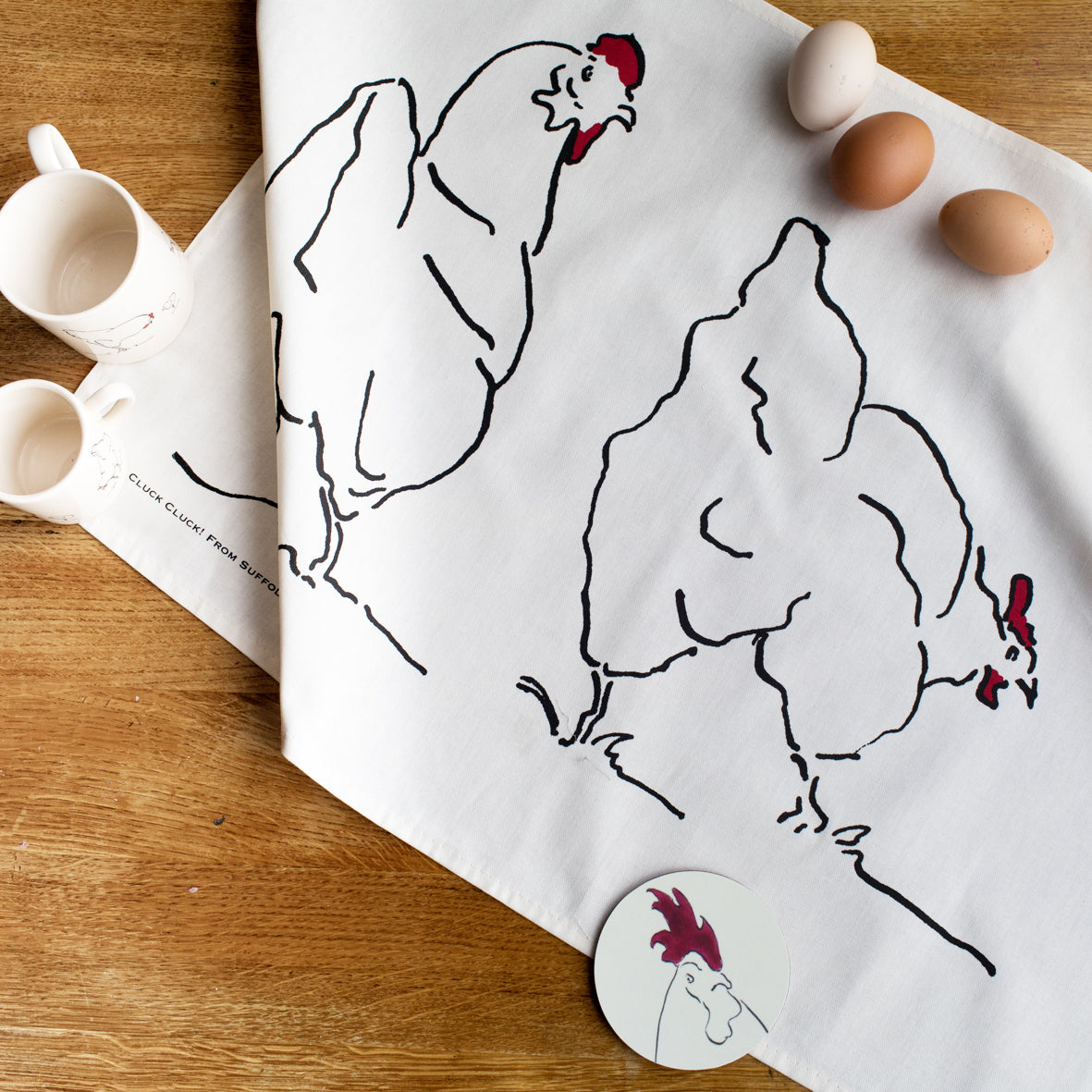 chicken tea towel from cluck cluck