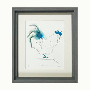 Cockerel Sky Blue Feather Print