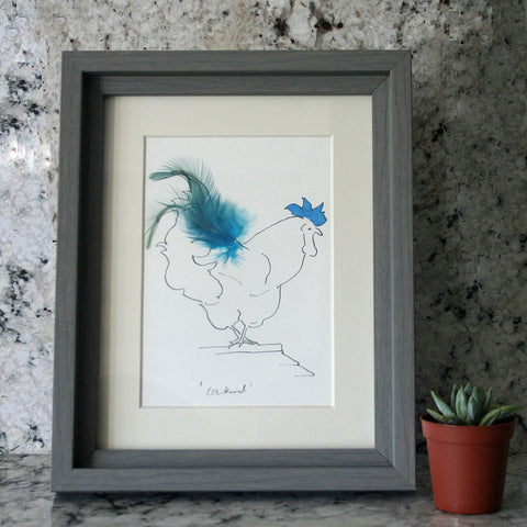 Cockerel Sky Blue Feather Mini Print