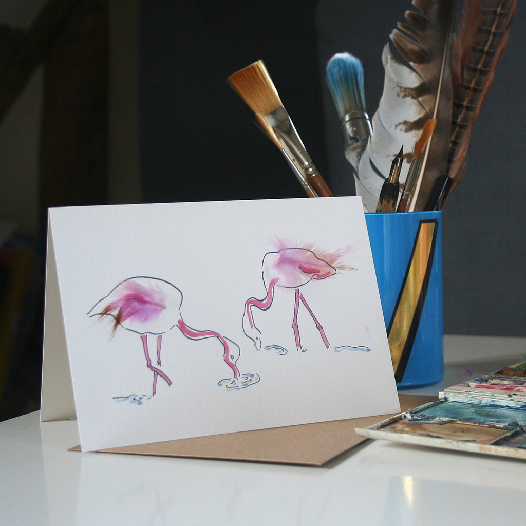 Flamingo card with real feathers