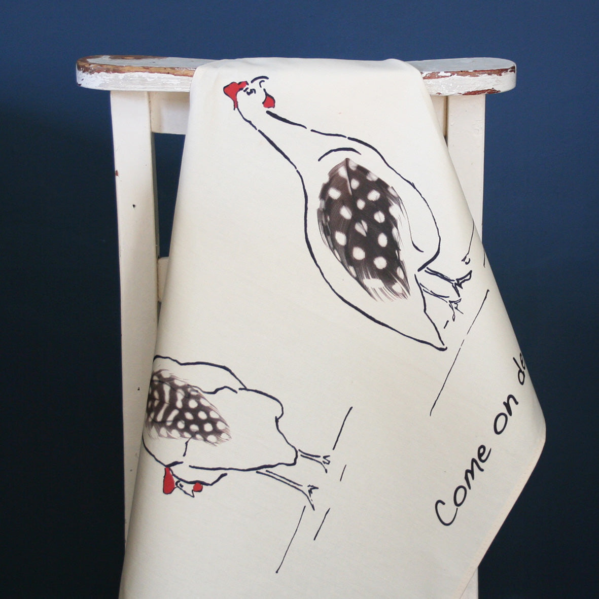 Guinea fowl tea towel from Cluck Cluck!