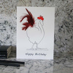 Load image into Gallery viewer, Herk Cockerel happy birthday card with red feathers