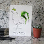 Load image into Gallery viewer, Happy Birthday card hand finished with green feathers from Cluck Cluck!