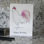 Load image into Gallery viewer, Happy Birthday card hand finished with pale pink feathers from Cluck Cluck!