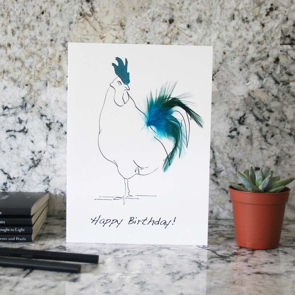 Oh Sir Happy birthday cockerel feather card in blue