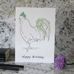Load image into Gallery viewer, Happy Birthday card hand finished with pale green feathers from Cluck Cluck!