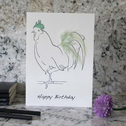 Happy Birthday card hand finished with pale green feathers from Cluck Cluck!