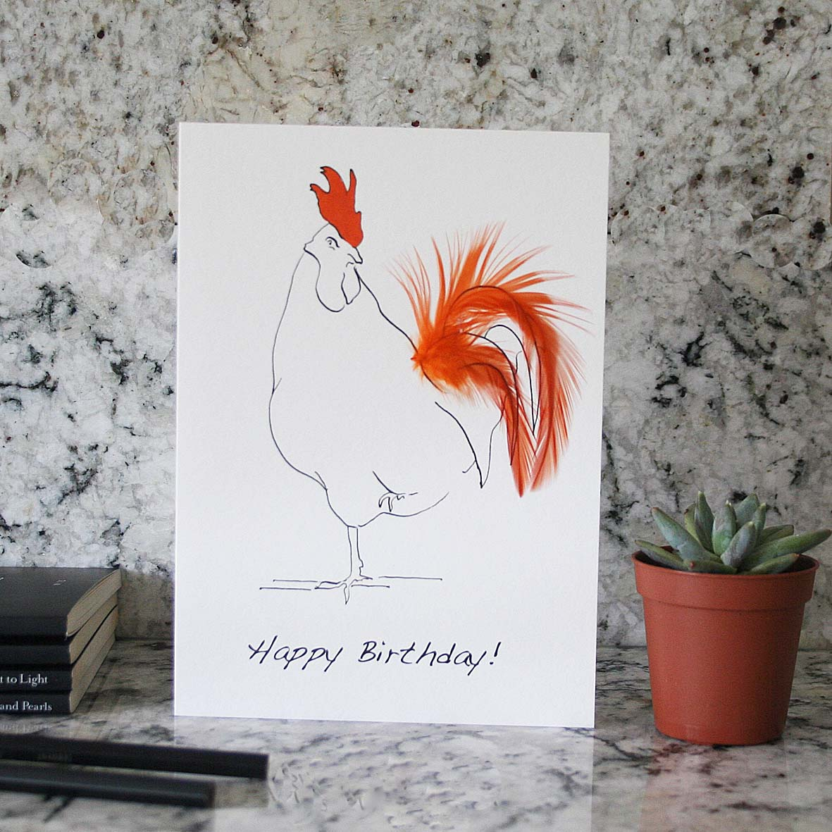 Oh Sir Happy birthday cockerel feather card in orange