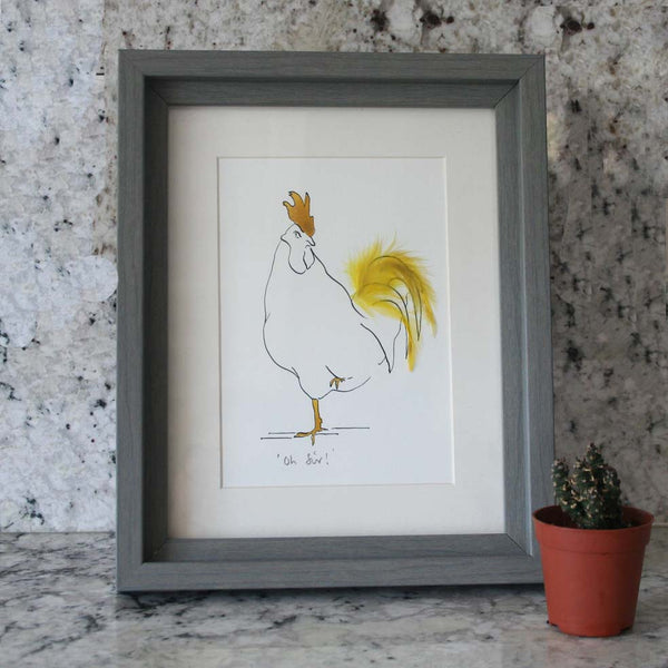 Oh Sir! Cockerel Mini Print