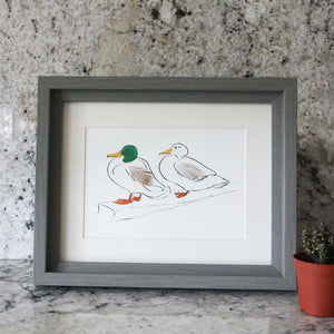 Mini Print Mr and Mrs duck with feathers from Cluck Cluck