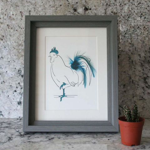 Oh Me! Cockerel with Blue feathers Mini Print