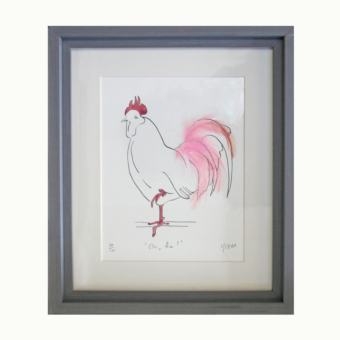 Hen print with real feathers framed