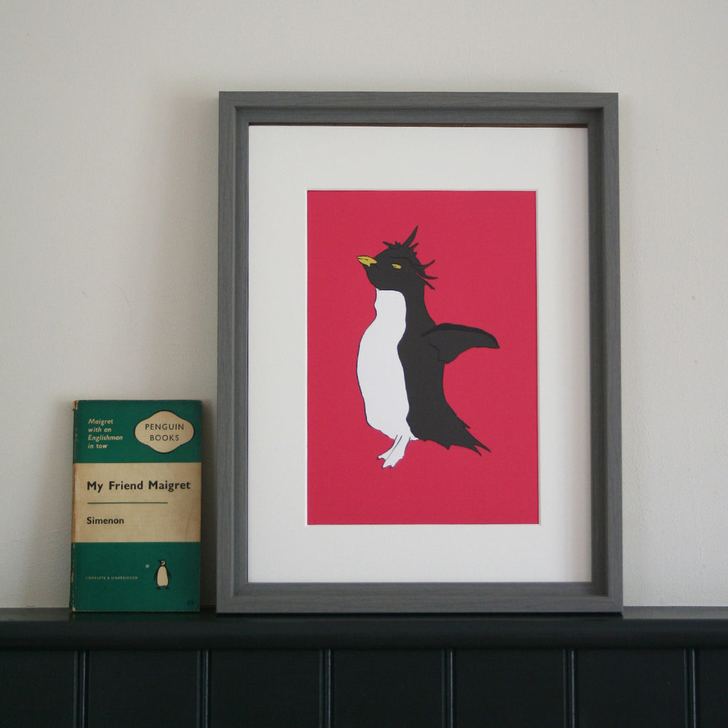 Penguin print with bright pink background