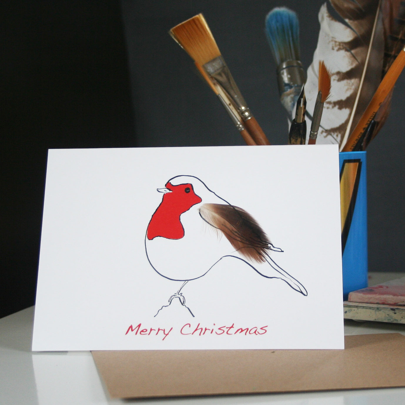 Robin Feather Christmas Cards