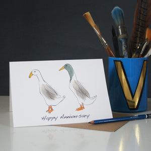 Runner duck anniversary card