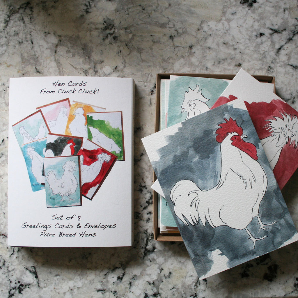 Tin of 6 different duck cards Blank inside from Cluck Cluck!