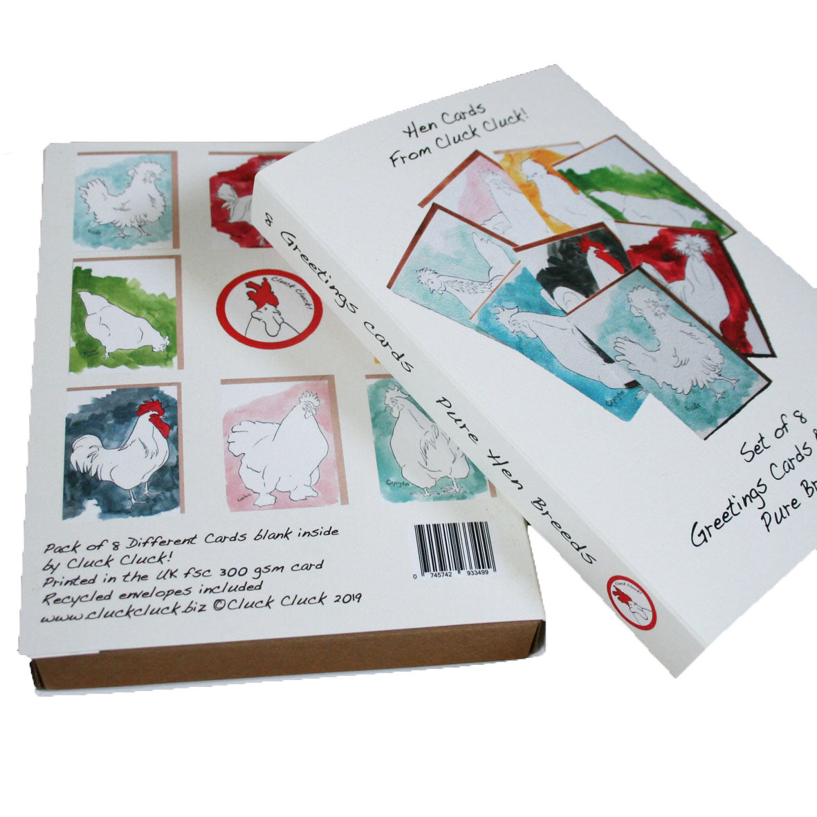 Box Set of 8 Hens Cards