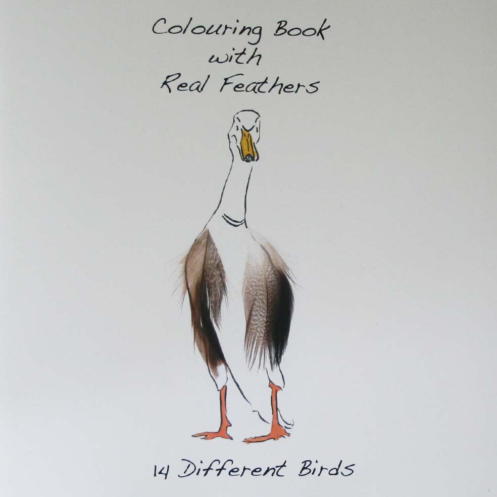 Runner Duck cover colouring book with feathers