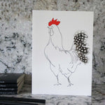 Load image into Gallery viewer, Edward Cockerel greeting card with spotty feathers