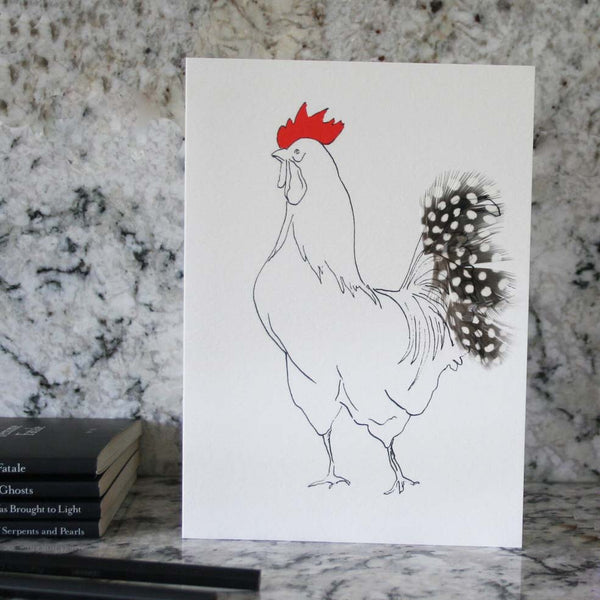 Edward Cockerel greeting card with spotty feathers