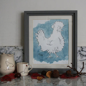 Frizzle Hen Original Ink & watercolour