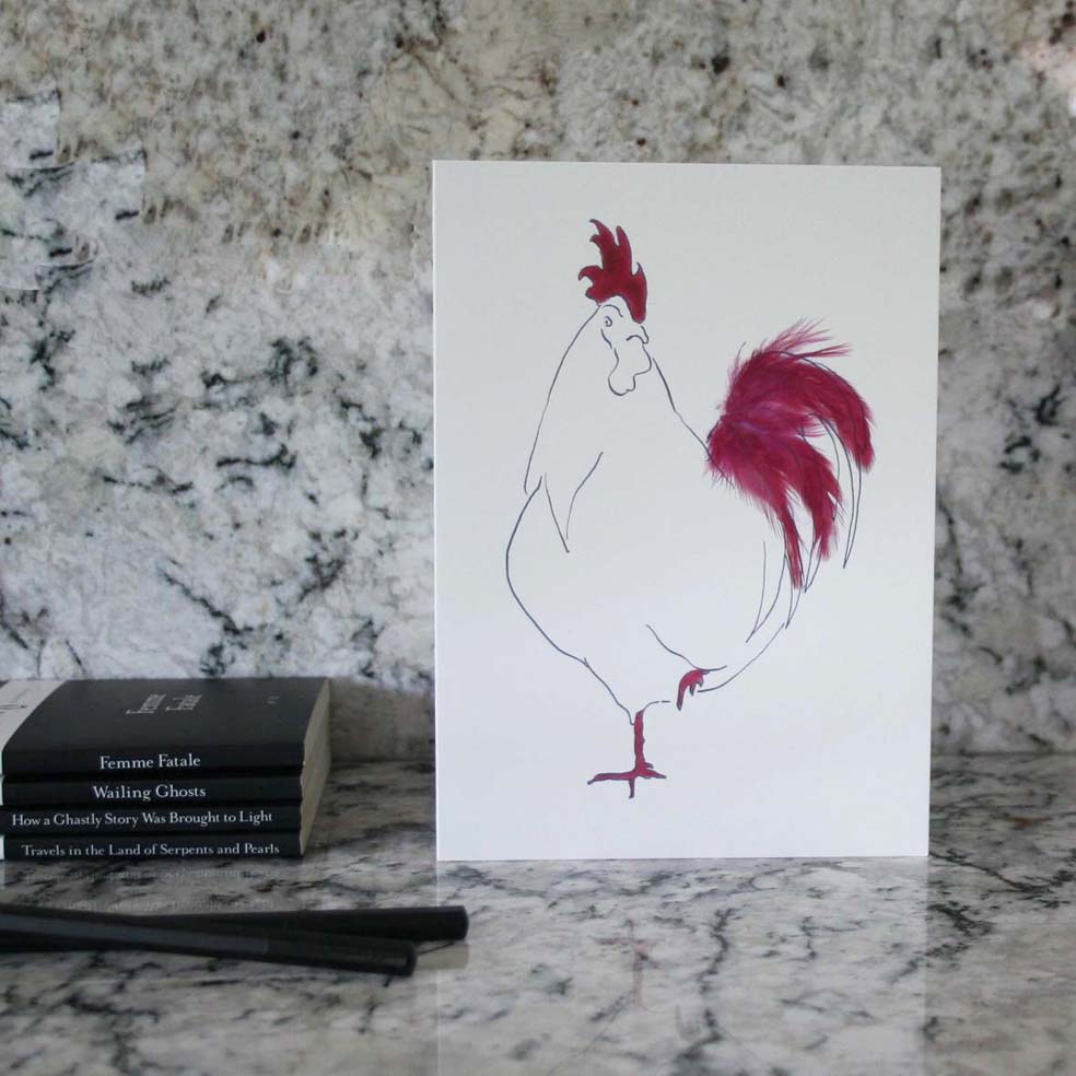Set of 6 cockerel cards in a tin from Cluck Cluck