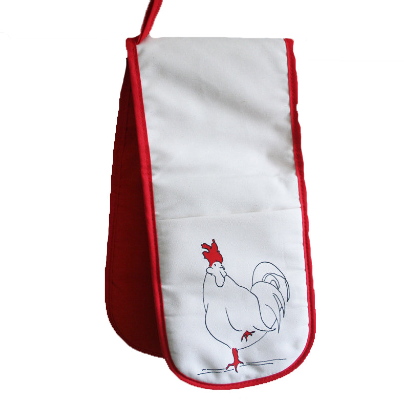 oven gloves with a rooster design and red underside