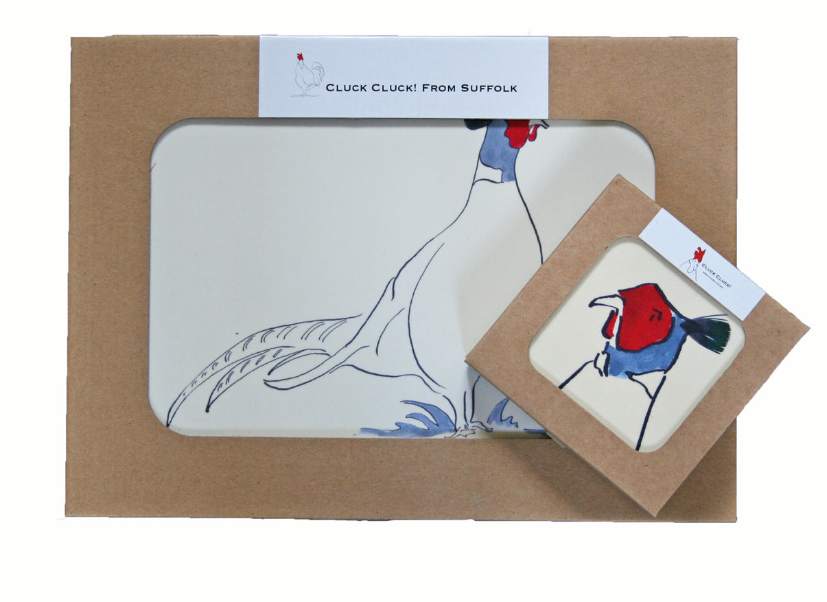 set of 4 pheasant tablemats with matching coasters from Cluck Cuck