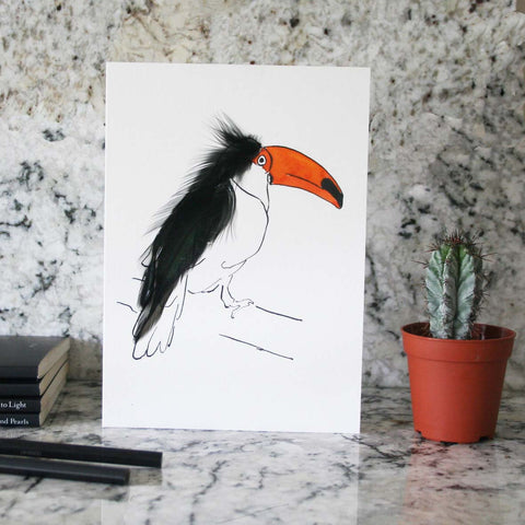 Toucan card with real feathers
