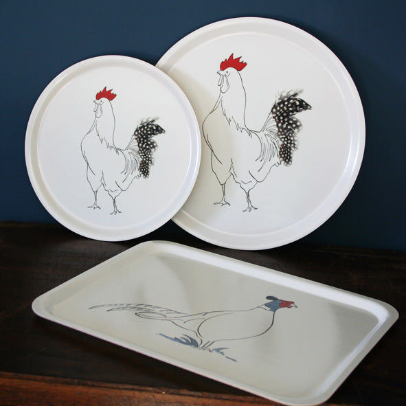 Round wood birch trays with rooster design in two sizes