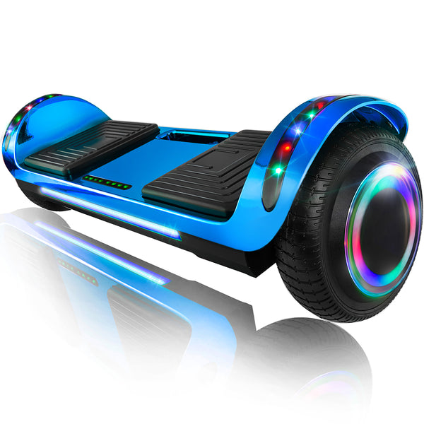 "XPRIT 6.5"" Hoverboard Self-Balance Two Wheel w/Built-in Wireless Speaker-Chrome Blue"